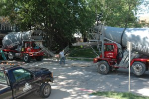 Dueling cement trucks
